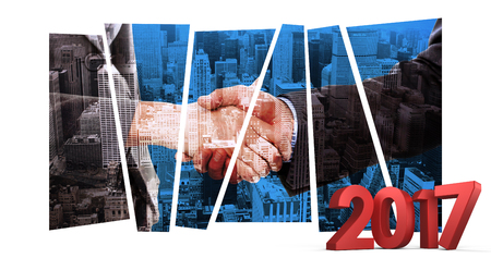 composite image: Composite image of number in red against composite image of close up of two businesspeople shaking their hands Stock Photo