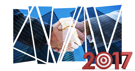 composite image: Composite image of numbers with bulls eye arrow against composite image of business people shaking hands Stock Photo