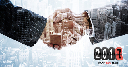 extending: Composite image of gray and red numbers against composite image of hand shake in front of wires Stock Photo