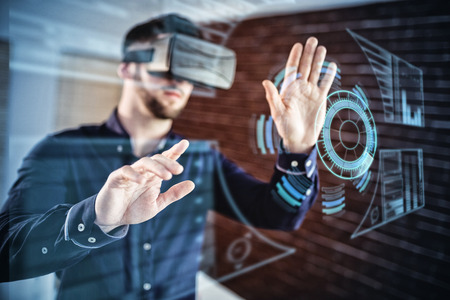 Digitally generated image of dashboard interface against man wearing virtual glass