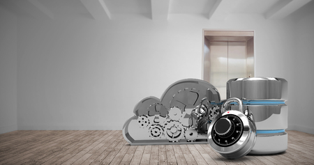 disco duro: Hard drive symbol with combination lock and cloud against room with elevator