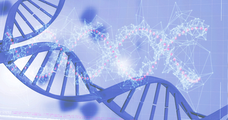 Red spiral dna pattern on screen over white background