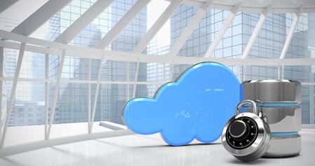 disco duro: símbolo de unidad de disco duro con cerradura de combinación y azul nube contra habitación con vistas a la ciudad moderna