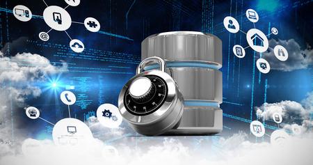 disco duro: iconos de cloud computing contra cerradura de combinación con el símbolo de disco duro