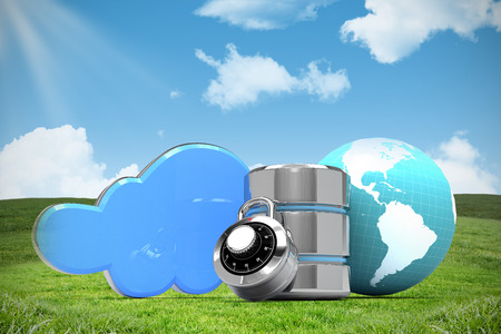 Database server icon with earth and combination lock against blue sky over green field Stock Photo