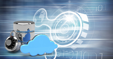 Database server icon with combination lock and blue cloud against computer icons Stock Photo