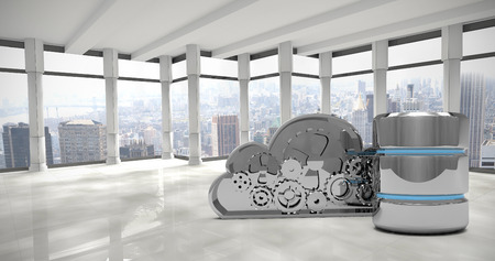 disco duro: Mechanical cloud with hard drive symbol against modern room overlooking city Foto de archivo
