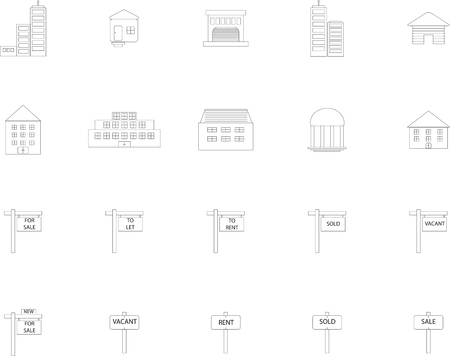 citylife: Various property icons on white background