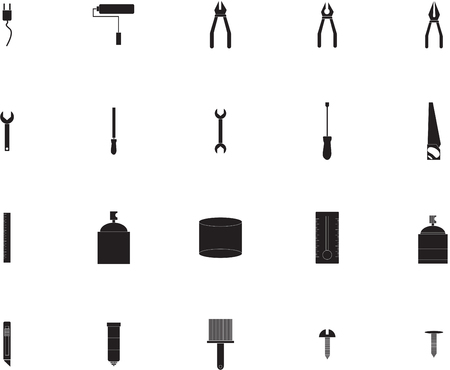 work tools: Various work tools signs white background
