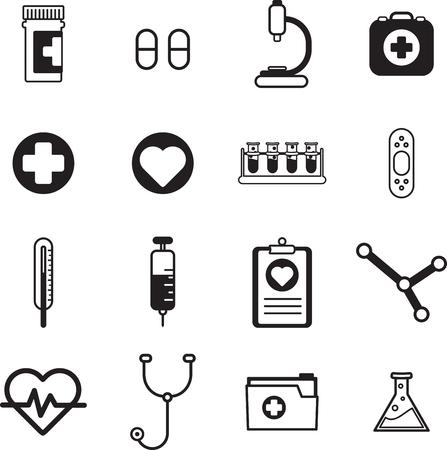 medical equipment: Various medical equipment icons on white background Illustration