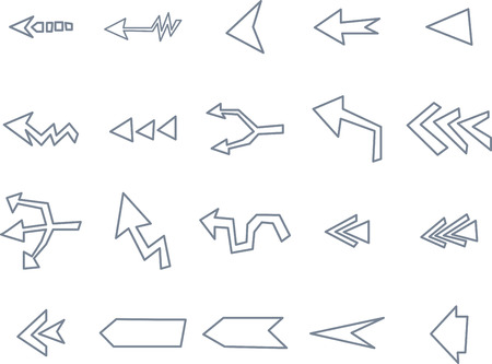 Various arrow sign icons on white background Illustration