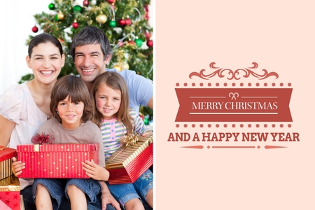 tearing down: Digital Composite of Happy Family and Christmas Message Design
