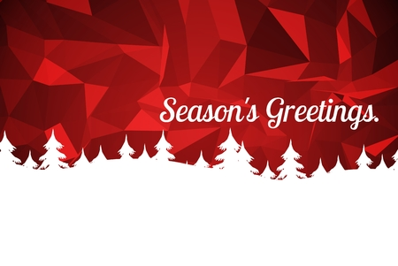 mature adult: Digital Composite of Christmas Message on Red Background Design