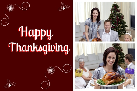 Digital Composite of Happy Family and Thanksgiving Message photo