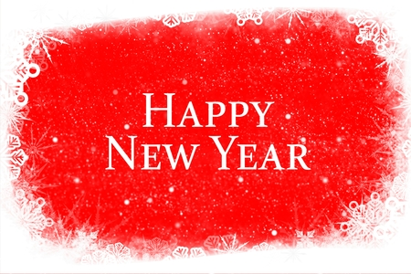 Digital Composite of New Year Message on Red Background Design