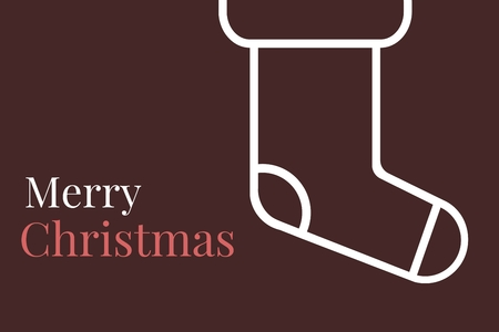 mid adult men: Digital Composite of Christmas Message and Socks on Brown background Design Stock Photo