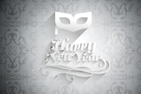 champagne flute: Digital Composite of New Year Message on White Background Design Stock Photo