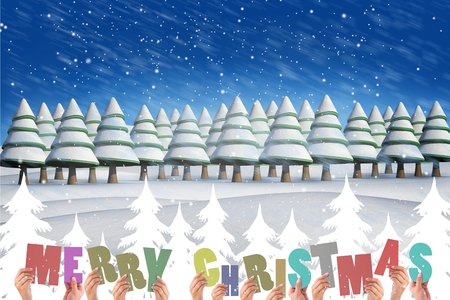 fowls: Digital Composite of Christmas Message on Snowy Wooden Background Design