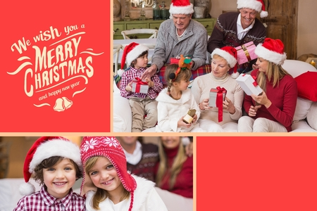 Digital Composite of Happy Family and Christmas Message on Red Background Stock Photo