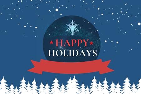 mid adult men: Digital Composite of Christmas Message on Winter Night Background Design