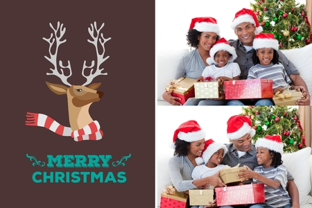 multiracial: Digital Composite of Happy Family and Christmas Message Design