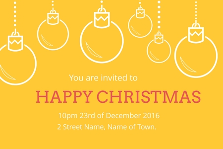 tearing down: Digital Composite of Christmas Invitation on yellow Background Design