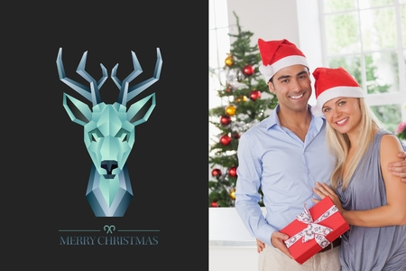 multiracial: Digital Composite of Blue Deer Design and Christmas Couple