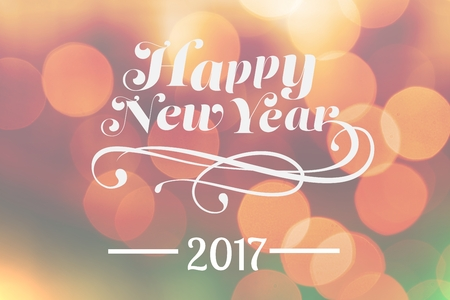 mid adult men: Digital Composite of New Year Message on Blurry Background Design Stock Photo