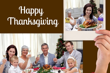 Digital Composite of Happy Family and Thanksgiving Message on Black Background Design photo