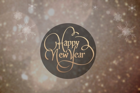 fowls: Digital Composite of New Year Message on Blurry Background Design Stock Photo