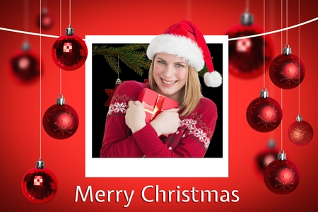 tearing down: Digital Composite of Happy Woman and Christmas Message on Red Background Designlying Santa Sleigh Design