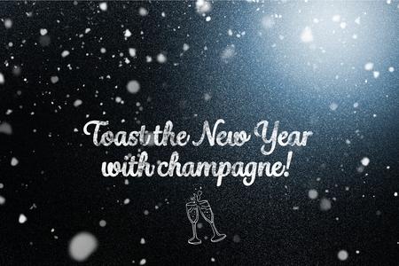 champagne flute: Digital Composite of New Year Message on Dark Background Design