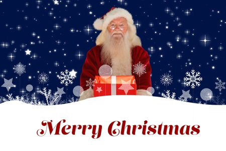 mid adult men: Digital Composite of Santa with Gift and Christmas Message Design