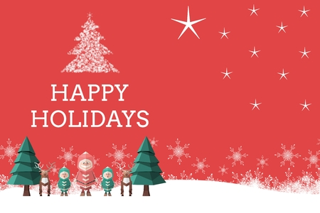 Digital Composite of Christmas message on Red Christmas Background Design