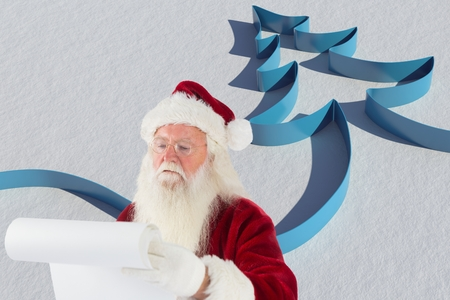 digitally: Santa claus reading christmas letter against digitally generated background Stock Photo