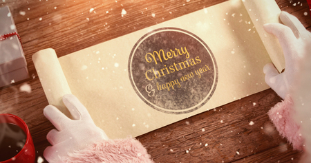 santa suit: Close-up of santa claus opening scroll against print merry christmas and happy new year