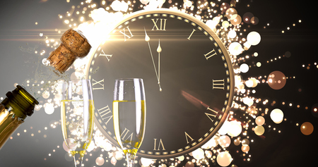 popping cork: Clock counting down to midnight against close up of champagne cork popping