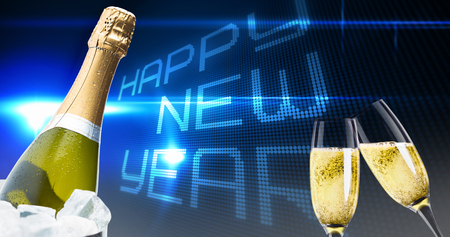 midnight: Champagne glasses clinking against happy new year on tech background Stock Photo