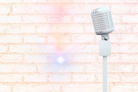 against white: White microphone against white wall
