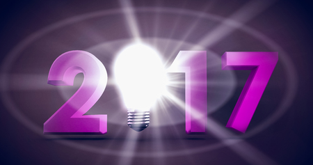 light brown: 2017 with glowing light bulb over white background against dark brown background Stock Photo