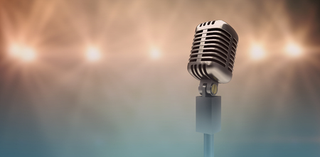 Digitally generated retro chrome microphone  against view of spotlights Stock Photo