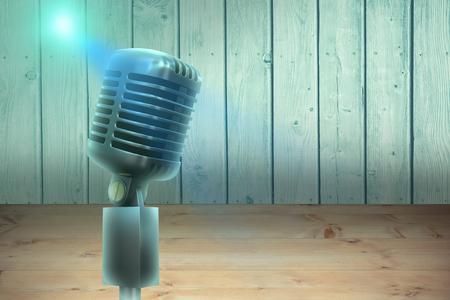 digitally: Digitally generated retro chrome microphone against a wall