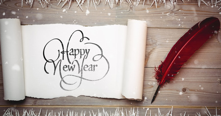 Happy new year against blank scroll paper and quill