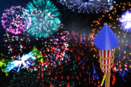 Rocket for firework against colourful fireworks exploding on black background