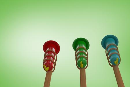 artifice: Rockets for fireworks against green vignette Stock Photo