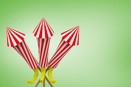 Rockets for fireworks against green vignette Stock Photo
