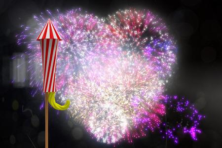 Rocket for fireworks against colourful fireworks exploding on black background