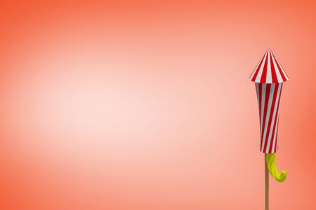 artifice: Rocket for firework against orange background Stock Photo