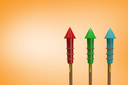 artifice: Rockets for fireworks against orange vignette