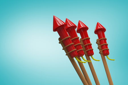 artifice: Rockets for fireworks against blue vignette background